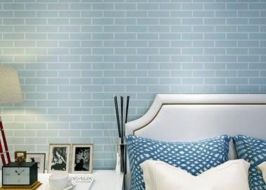 Del azul recubrimiento de paredes auto-adhesivo pegado pre - no tejido/papel pintado del ladrillo 3D, estándar del CE