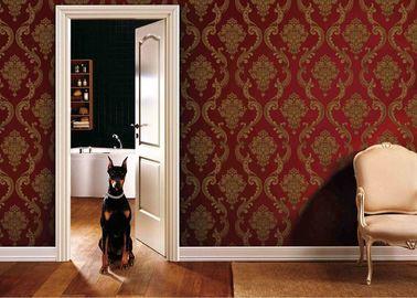 recubrimientos de paredes desprendibles del PVC de la sala de estar de los 0.53*10M con el rojo y el color oro, SGS del ISO