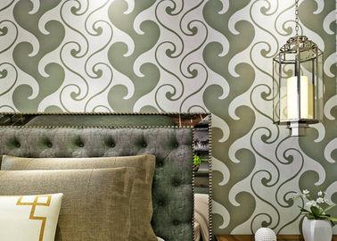 papel pintado texturizado terciopelo del papel pintado de los 0.53*10m, blanco y verde del terciopelo para la decoración casera