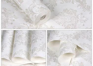 Floral ningunos recubrimientos de paredes desprendibles del papel pintado auto-adhesivo blanco del pegamento