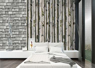 Papel pintado del hogar 3d del árbol de abedul gris/ningún aislamiento de calor tóxico del papel pintado de la sala de estar