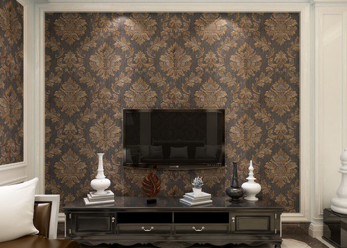 Removable Victorian Damask Wallpaper Embossed Black and Golden Pattern , 0.53*10m/ roll