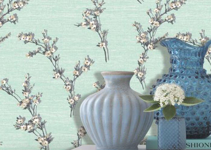 Green Leaf Pattern Non Woven Wallcovering / Flocking Home Decorating Wallpaper