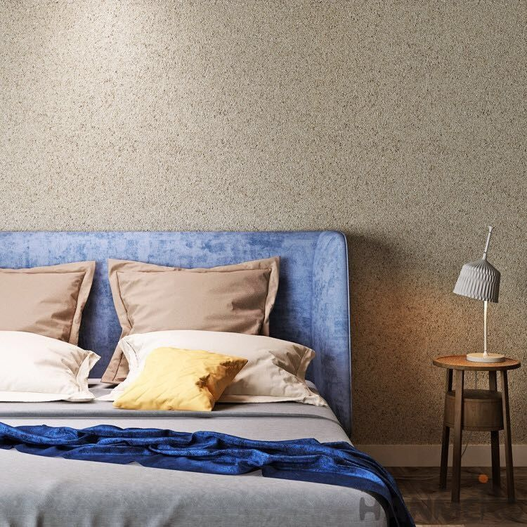 Natural Material Bedroom Feature Wallpaper Stone Textured Interior Room Decor