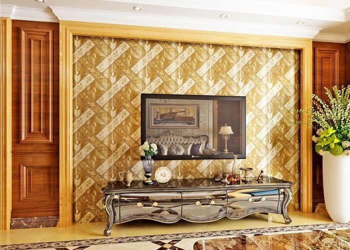 Luxurious Modern Style Wallpaper with Removable Gold Foil Material , Geometric Pattern